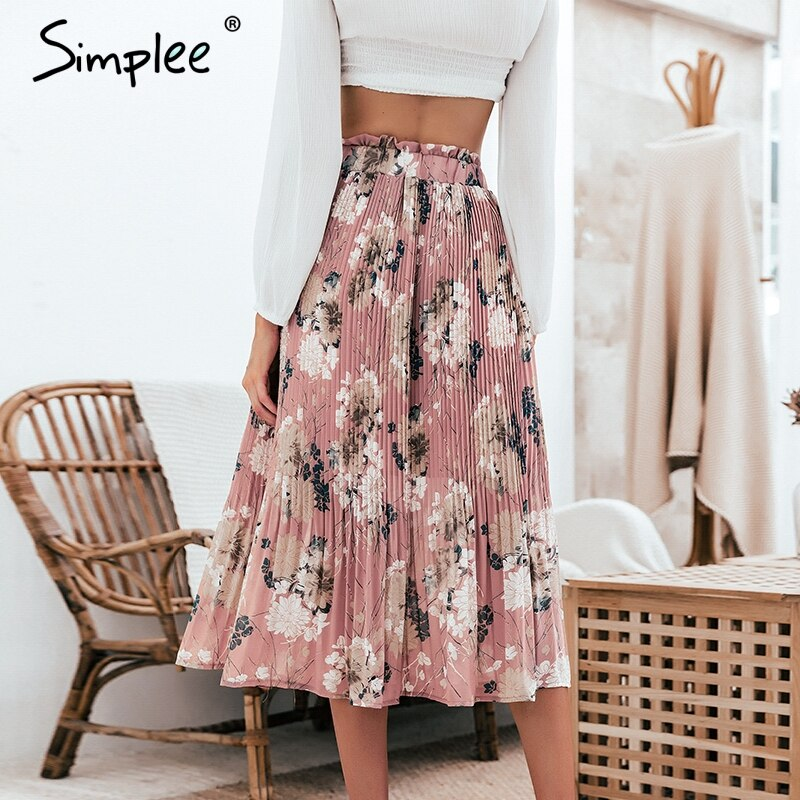 Simplee Bohemian ruffled high waist chiffon women long skirt Floral print skirt pleated summer skirt Female lining midi skirt 2