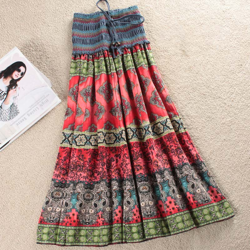 High Waist Boho Floral Women Long Skirt Pleated A-line Elastic Sashes Vintage Women's Skirts 2020 Spring Summer Fashion Clothes 1