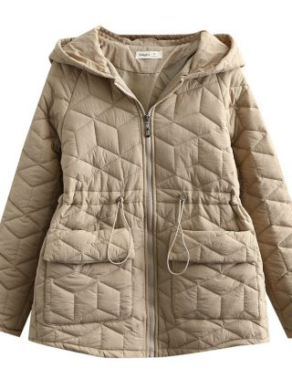 Winter Coats For Lady Plus Dimension Hooded Drawstring
