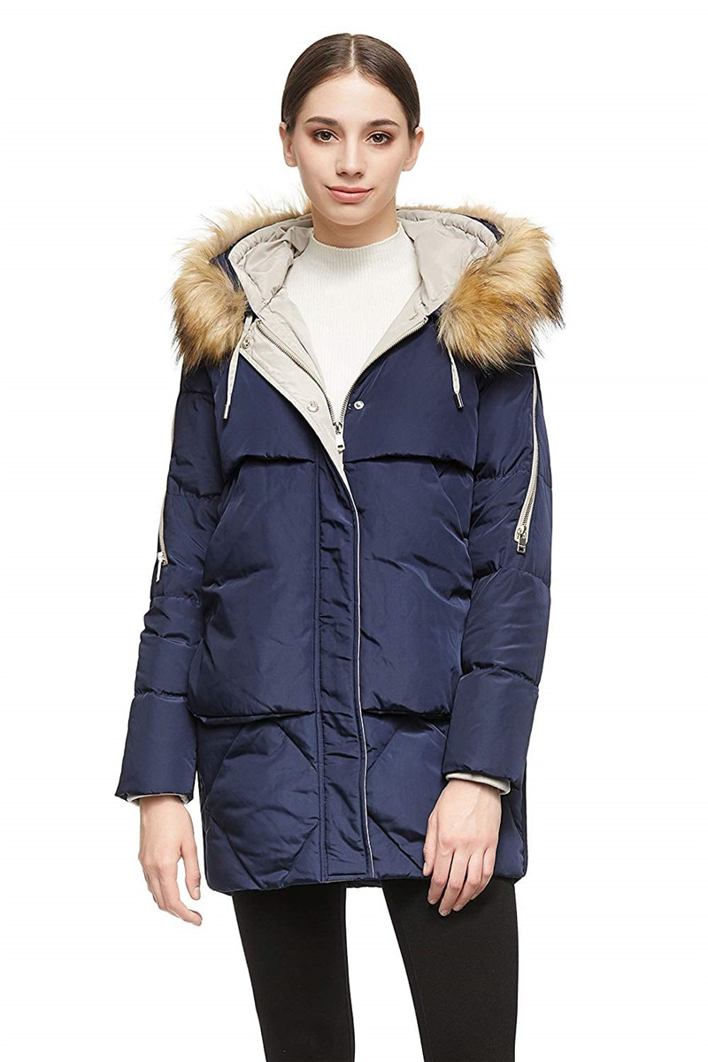 Women Thickened Mid-Long Down Jacket with Removable Fur Hood Large Pockets 2