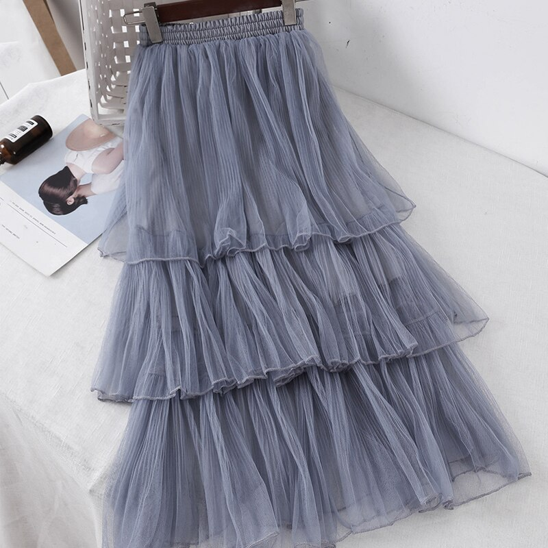 Women Sweet Chiffon Casual Long Skirt Female Preppy Style Students High Waist Skirts Pleated A-line Floor-Length Skirts 1