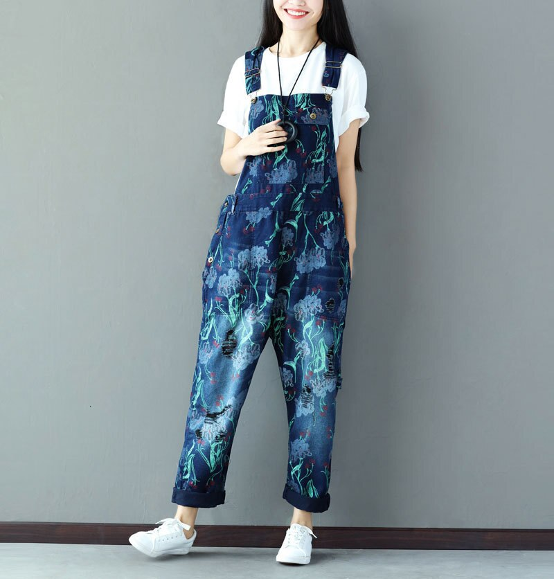 #0349 Suspender Jumpsuits Women Vintage Loose Denim Overalls For Women Sleeveless Ladies Jeans Jumpsuits Printed Fashion 1