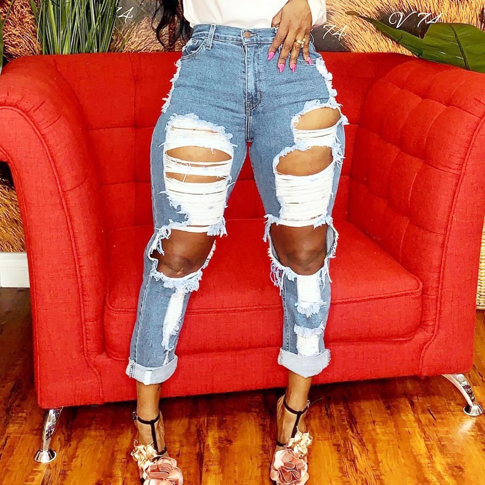 Women's high waist jeans hot sale women's ripped jeans fashion slim trousers women's straight jeans tassels women's casual jeans 4