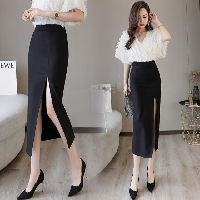 2020 Summer Women Long Skirt Casual Wrap Female Sexy Split High Waist Midi Skirt Office Party Ladies Elegant Plus Size 5XL F22 1