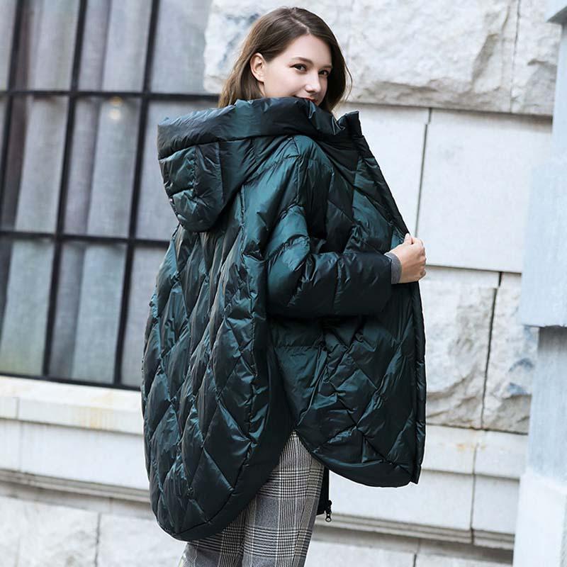 Solid Oversize Hooded Women down jacket 2019 Winter warm long down coat Green black loose fashion Overcoat Autumn YNZZU YO953 3
