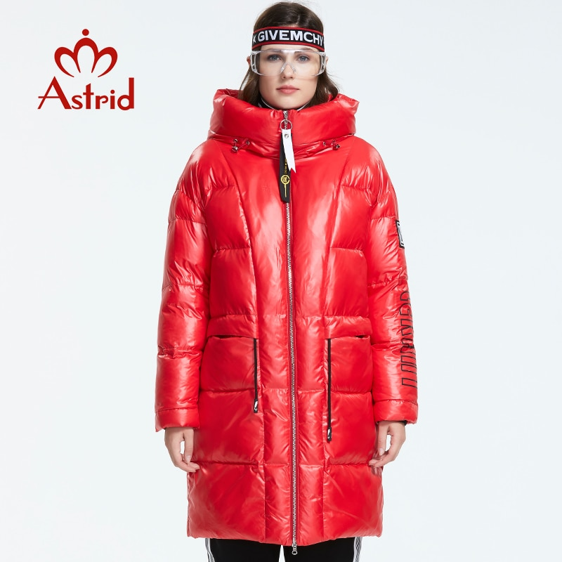 Astrid 2019 Winter new arrival women down jacket red top color with a hood down coat with zipper long winter coat women AR-3003 2