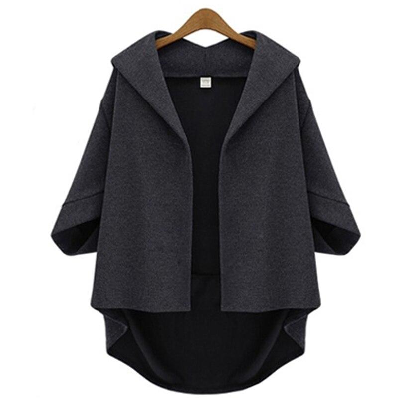 European Style Women Jackets 2019 Autumn Winter Ladies Asymmetrical Outerwear Wool&Blends Bawting Sleeve Coats Plus Size XL- 6XL 2