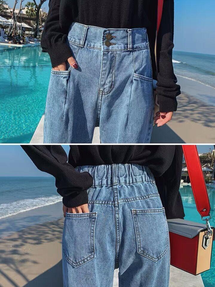 S-XL,2XL,3XL,4XL,5XL High Waist Jeans Woman plus size loose straight Jeans female elastic waist mom's denim womens (E208) 3