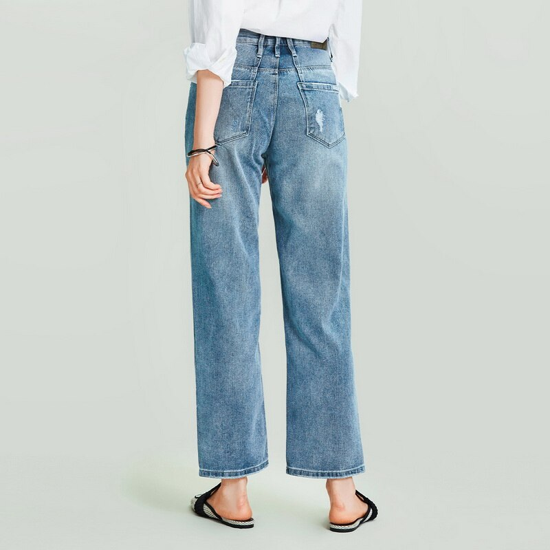 HAVVA 2020 New Women's Retro Washed Old Straight Denim Long Jeans Female Loose Slim Denim Pants K4973 2