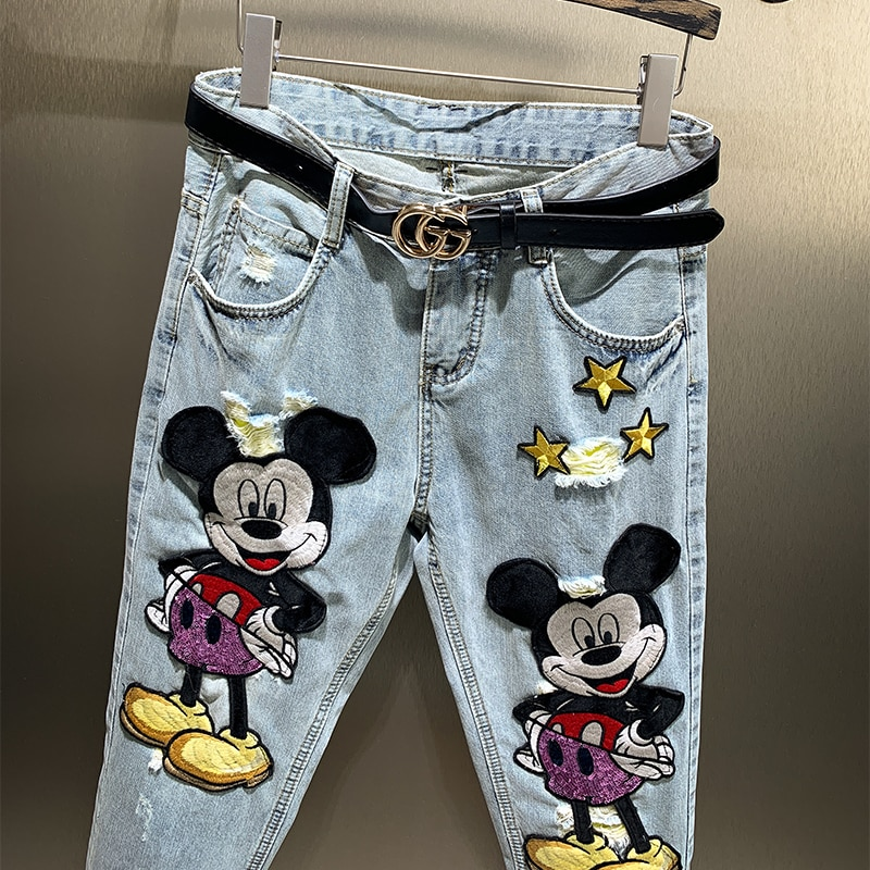 New Arrival Spring Summer Ankle-length Long Jeans for Women Cartoon Embroidery Hole Loose Casual Straight Denim Pants Students 4