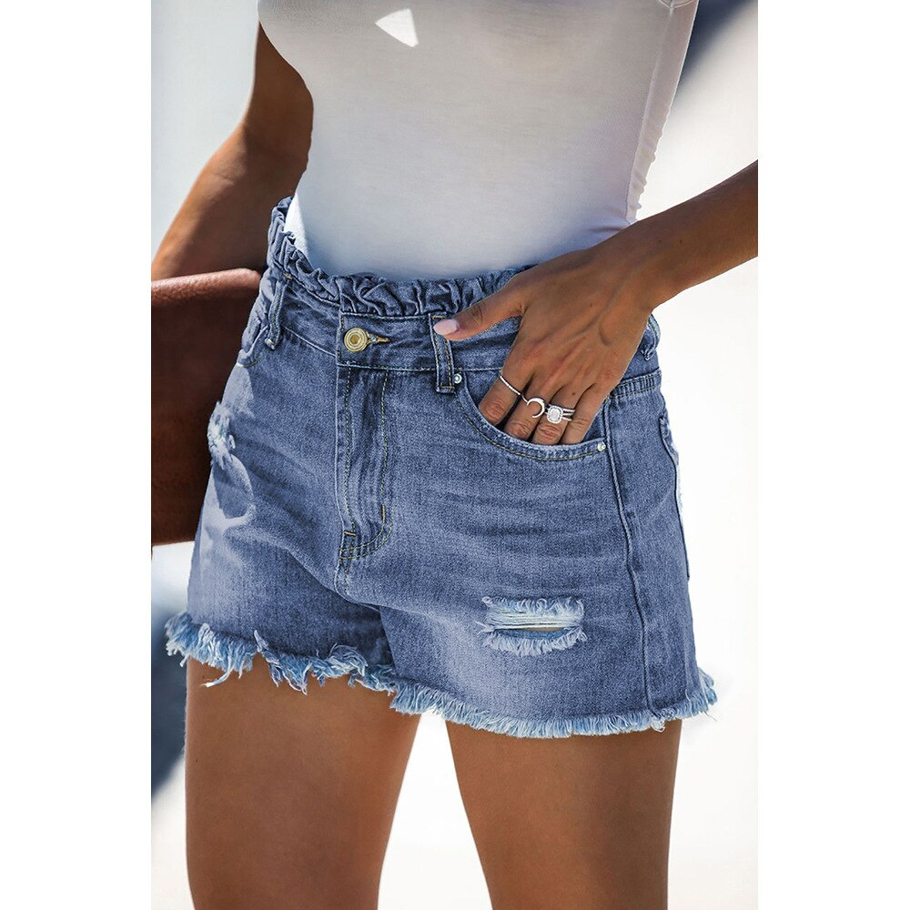 Women's Denim Shorts Jeans For Women Sexy Pants Streetwear Light Mid-Rise Women's Jeans Summer Cat Whiskers Bottom Street Trend