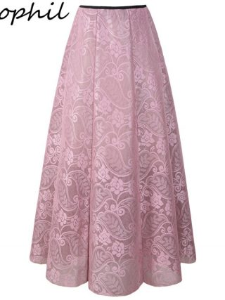 Classic Girls Floral Lace Mesh Ladies Lengthy Skirts