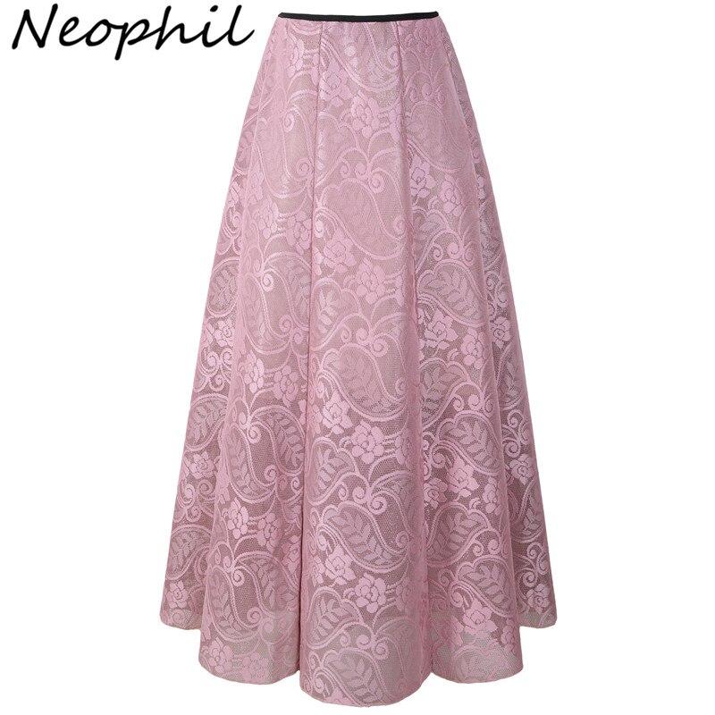 Neophil 2020 Vintage Ladies Floral Lace Mesh Women Long Skirts Muslim Maxi 100cm High Waist Pleated Print Boho Longa Saia MS1607