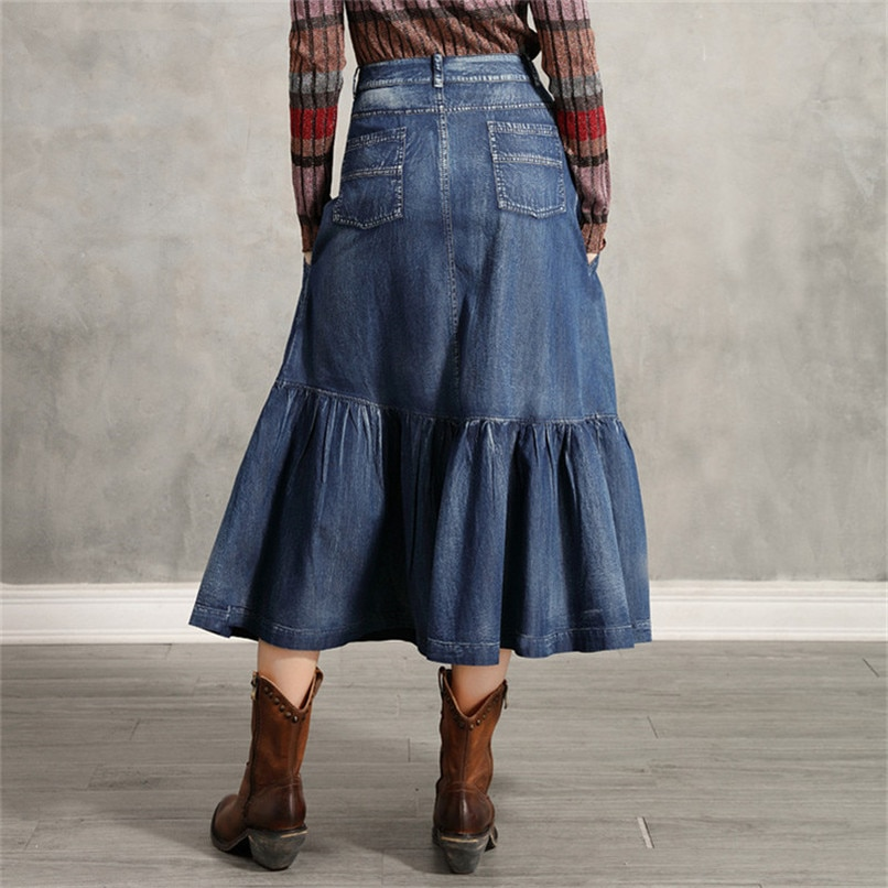 Women's Denim Skirt 2020 Vintage Women A line Embroidery Skirts Patch Pocket Saia Feminina Long Girl's Skirt 2