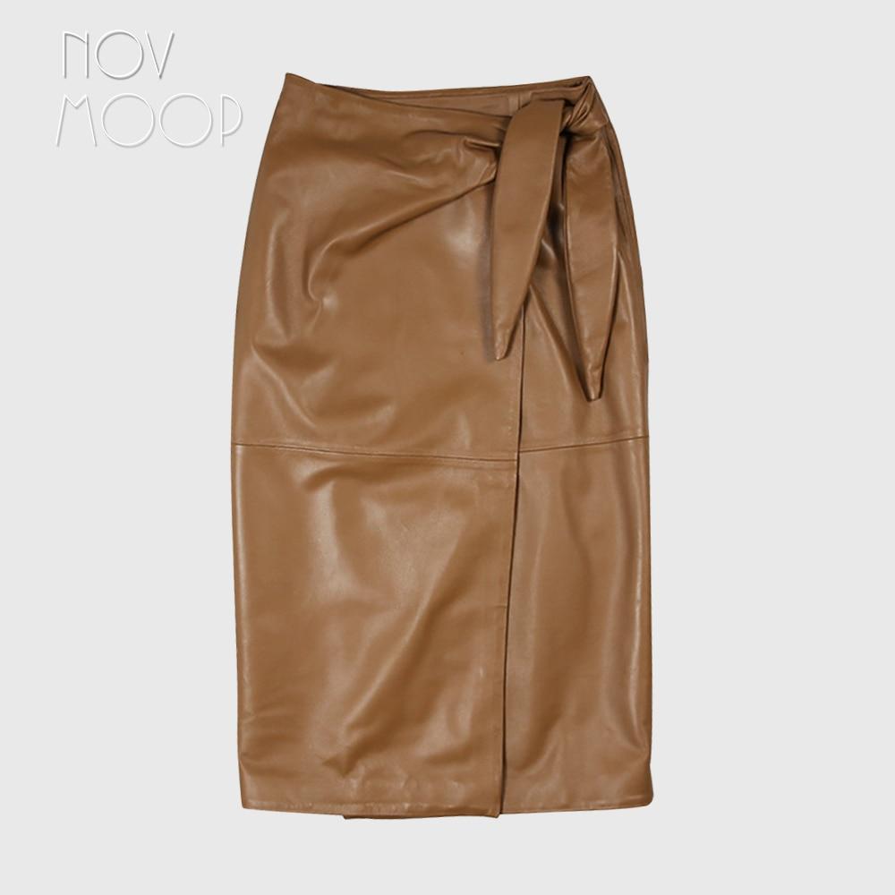 Novmoop casual style women spring high waist patchwork sheepskin genuine leather long skirt with bow decor spódniczka LT3066 2