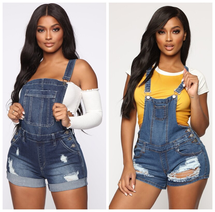 Plus Size Womens Rompers Jumpsuit Denim Short Overalls Skinny Jeans Playsuits Femme Ripped Hole Combi Shorts Combinaison Siamese