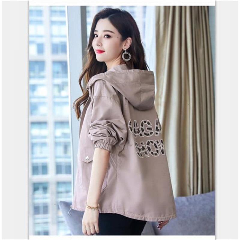 2020 New Women Jackets Autumn Windbreaker Female Long Sleeve Casual Hooded Jacket Zipper Lightweight Outwear Plus Size P713 1