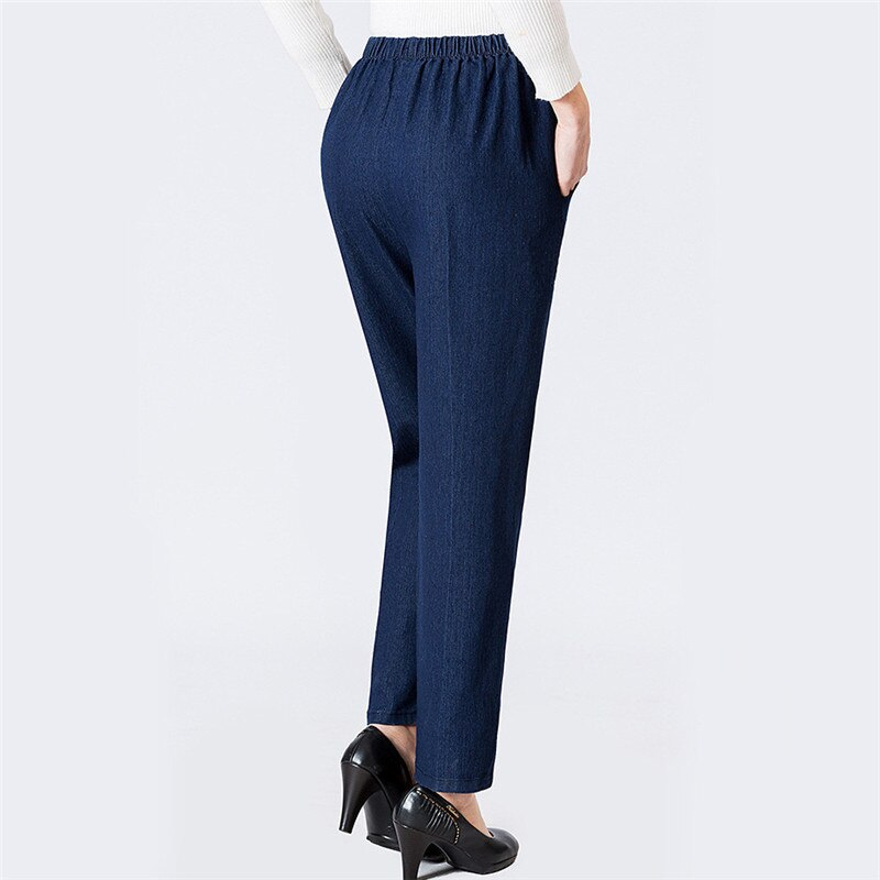 Mom Jeans Blue Loose High Waist Jeans 2019 New Spring Korean Embroidery Pockets Mid-aged Women Straight Jeans Chic Clothing JD47 1