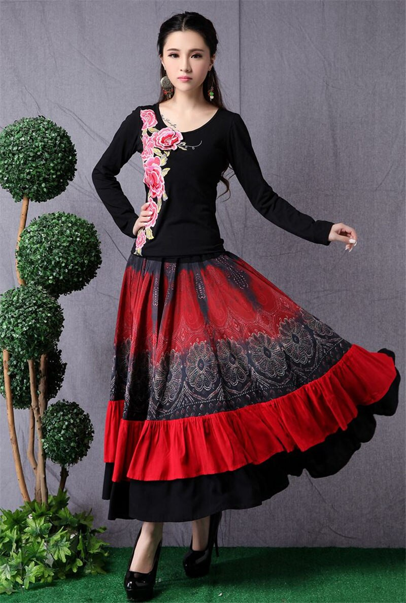 Ethnic Style Women's Long Skirt Stitching Fashion Elastic Waist Skirt Retro Large Size Dance Skirt Women Saia Mujer Faldas f2682 4