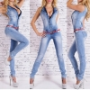 Womens Denims Jumpsuit Horny Bodycon washed white