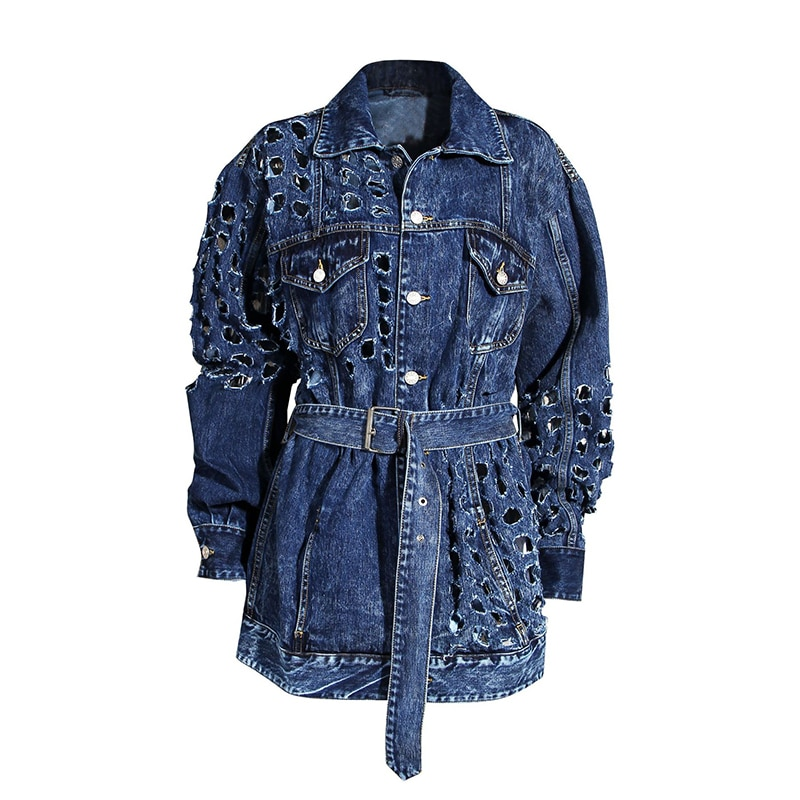DEAT 2020 NEW autumn and winter full sleeves metal hollow out waist belt denim fashion women jacket female top 2020 1Y917 3