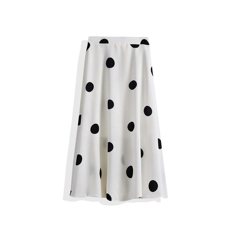2020 Summer New Women Simple Polka Dot Chiffon A-line Pleated Skirt High Waist Was Thin Casual Women Long Skirt Free Shipping 2
