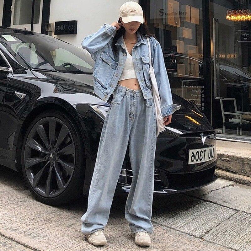 Fashion Loose Womens Jeans Harajuku-Style High-Waist Jeans Korean-Style Wide-Leg Straight Jeans Women 4
