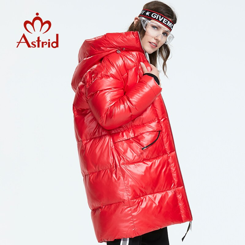 Astrid 2019 Winter new arrival women down jacket red top color with a hood down coat with zipper long winter coat women AR-3003 3