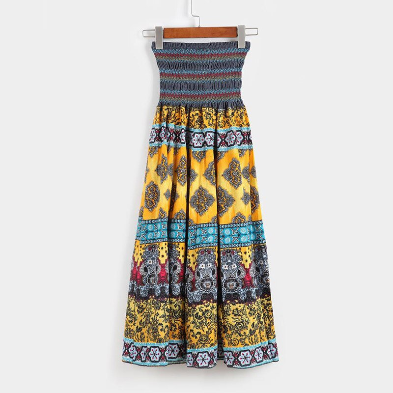 High Waist Boho Floral Women Long Skirt Pleated A-line Elastic Sashes Vintage Women's Skirts 2020 Spring Summer Fashion Clothes 2