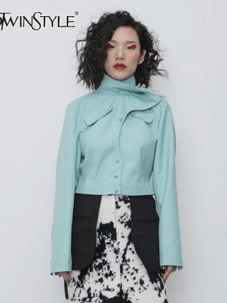 Asymmetrical PU Leather-based Girls Jacket Turtleneck