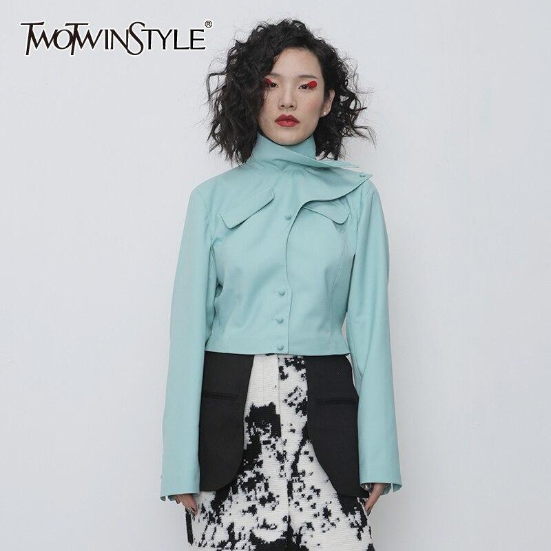 TWOTWINSTYLE Asymmetrical PU Leather Women Jacket Turtleneck Long Sleeve Slim Irregular Coat Female Fashion 2020 Spring Clothing
