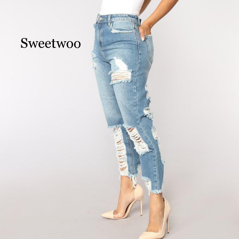 Sexy Back Hole Distressed Ripped Boyfriend Jeans For Women High Waisted Destroyed Jeans Street Rock Cut Out Loose Straight Jean 2