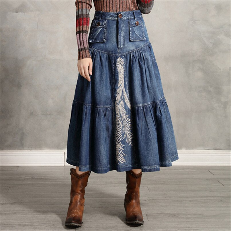 Women's Denim Skirt 2020 Vintage Women A line Embroidery Skirts Patch Pocket Saia Feminina Long Girl's Skirt