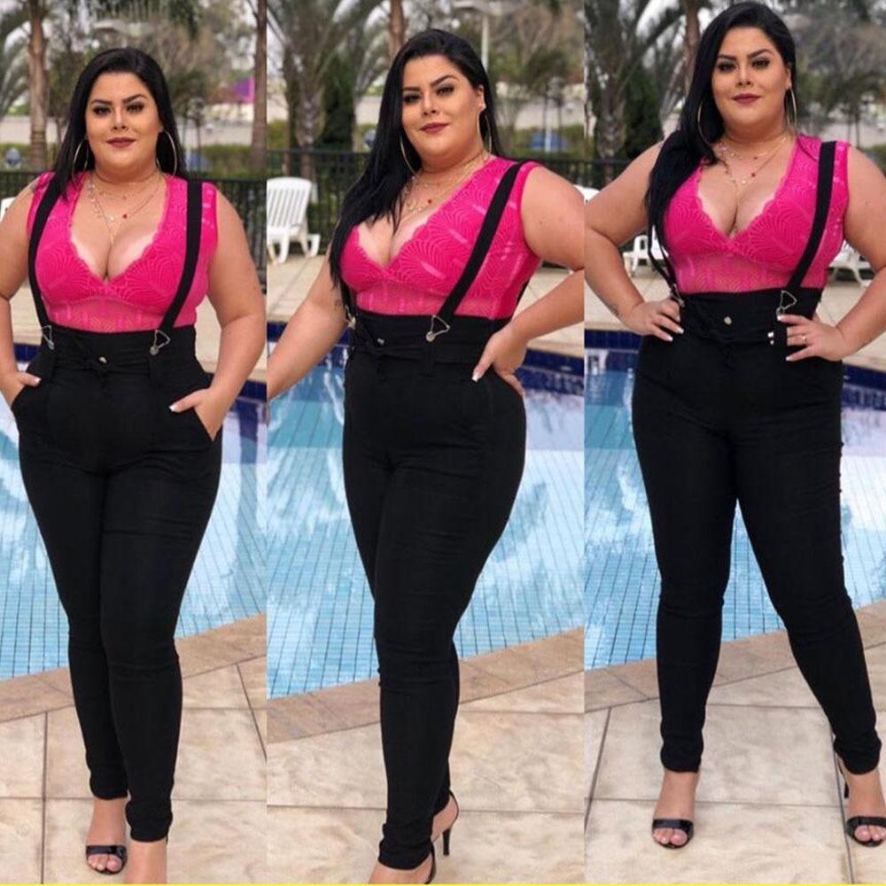 5XL Women Jeans Jumpsuit Casual High Waist Overalls Jeans Plus Size Black Skinny Jeans Woman Streetwear Denim Pant Playsuit D25 3