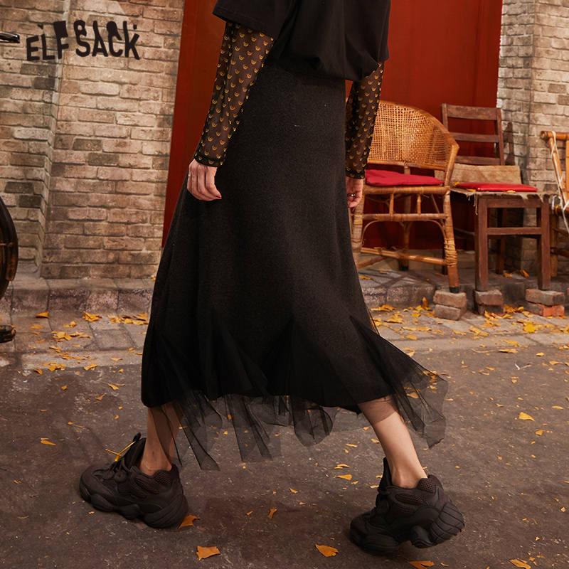 ELFSACK Black Solid Contrast Mesh Casual Women Long Skirts 2020 Spring New Gray Elastic Waist Irregular Hem Female Daily Bottom 3