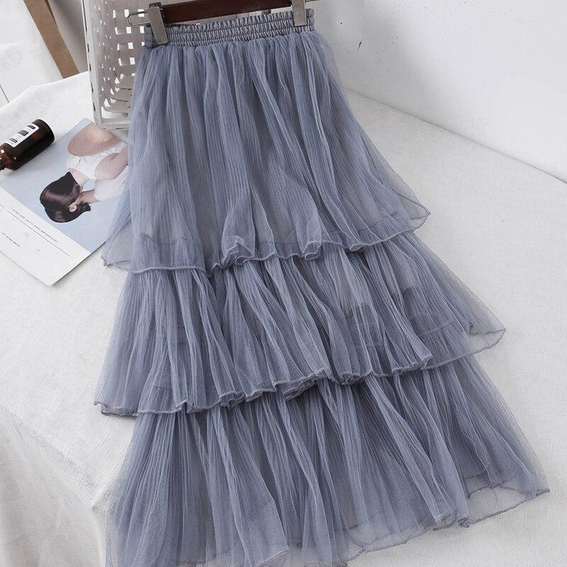 Women Sweet Chiffon Casual Long Skirt Female Preppy Style Students High Waist Skirts Pleated A-line Floor-Length Skirts