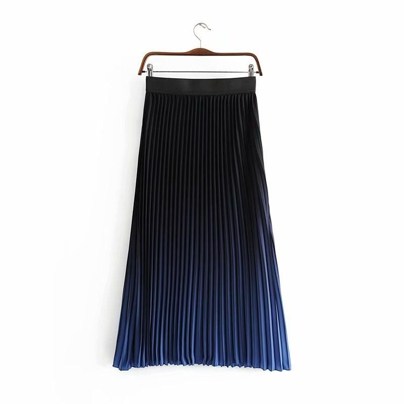 Spring Summer Women Gradient Color Pleated Skirt Elastic High Waist Long Skirt Fashion Ladies Ankle Length Skirt Streetwear 2