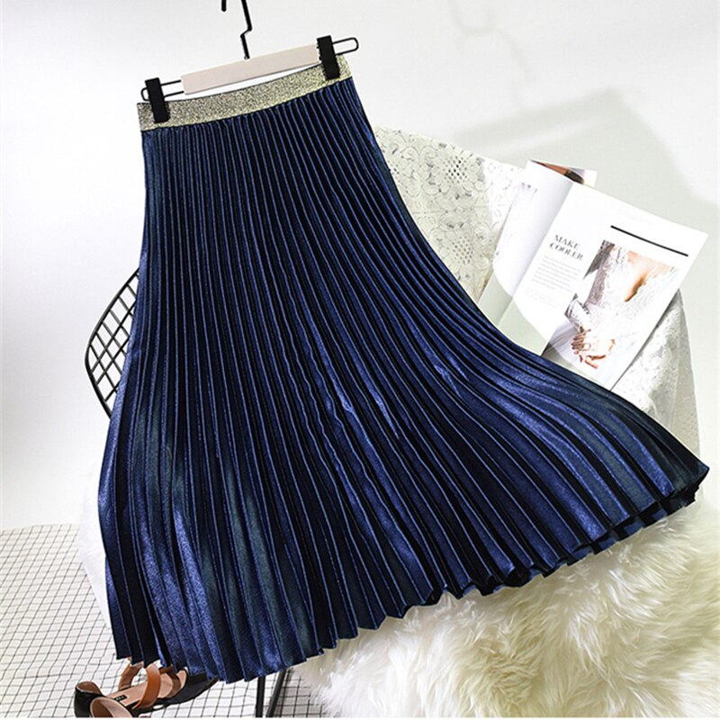Spring Autumn Elegant Pleated Skirt Women Elastic High Waist Women Long Skirt Female Winter Ladies High Quality Midi Skirts Saia 4
