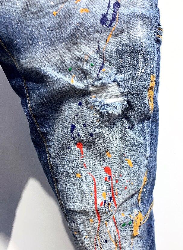 Famous Classic Fashion Designer Jeans women/Men Straight Dark Blue Color Printed Mens Jeans Ripped Jeans,100% Cotton A352 1