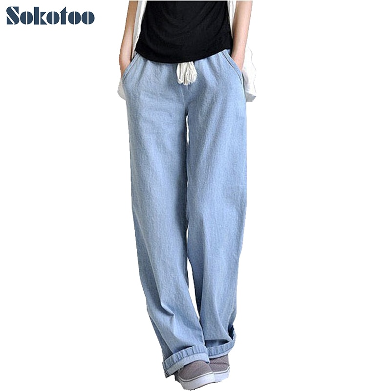Sokotoo Plus size comfortable loose wide leg pants women's straight jeans elastic waist full length trousers Free shipping 1