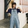 Korean Girls Blue Unfastened Denim Overalls Jumpsuit