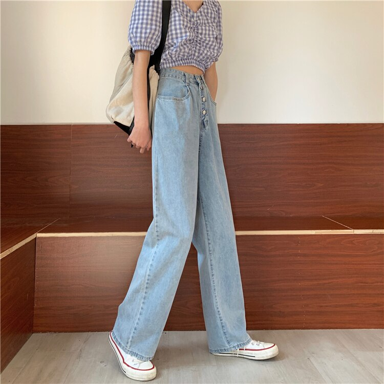 Wide Leg Jeans Women High Waist Straight Denim Pants Jeans Loose Plus Size Boyfriend Mom Jeans Vintage Summer 2020 Chic 4