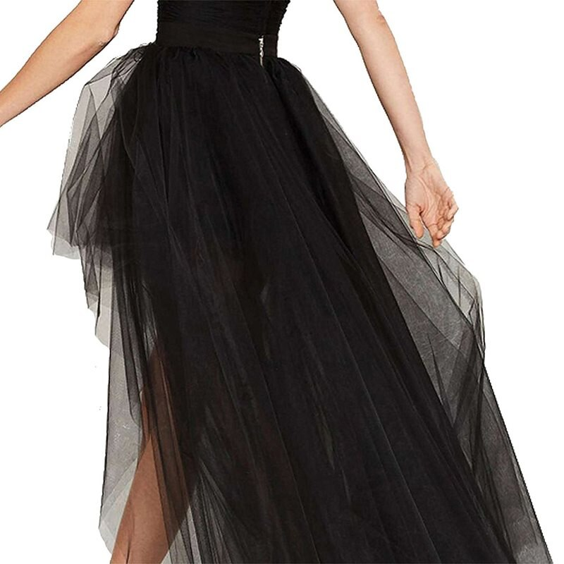Summer Elegant Gothic Sexy Club Chic Tulle Women Long Skirts Casual Mesh Solid Black Office Lady Goth Female Fashion Maxi Skirt 3
