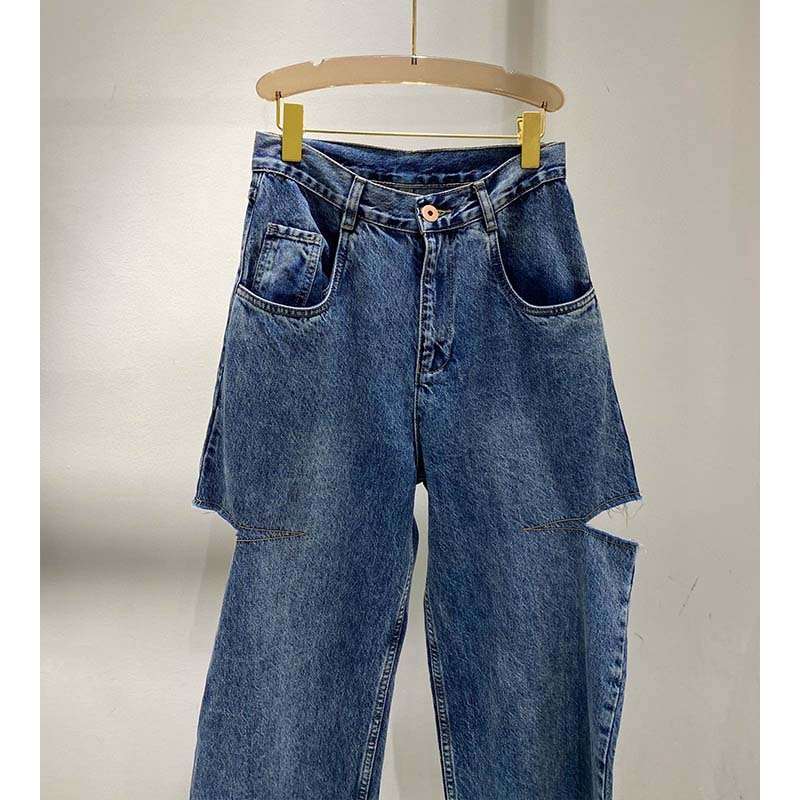 Cosmicchic 2020 Women Straight ripped Jeans Casual Knife Cut Hole Loose Pants High Waist Street Retro Denim Trousers Female 3