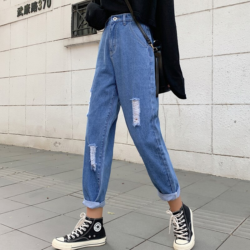 Ripped Mom Jeans High Waist Straight Jeans For Women Wide Leg Denim Pantalon Jambe Large Femme Distressed Jeans Pants 2020 New