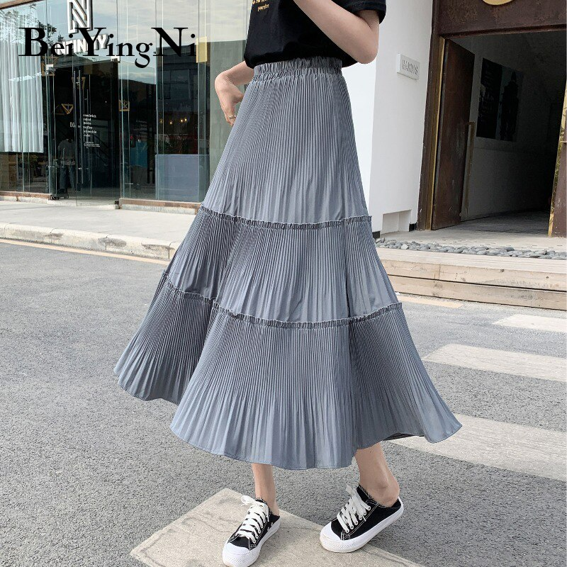 Beiyingni Vintage Casual Pleated Skirt Women Patchwork Long High Waist Midi Cake Skirt Elegant Harajuku Saias Faldas Maxi Jupe 2
