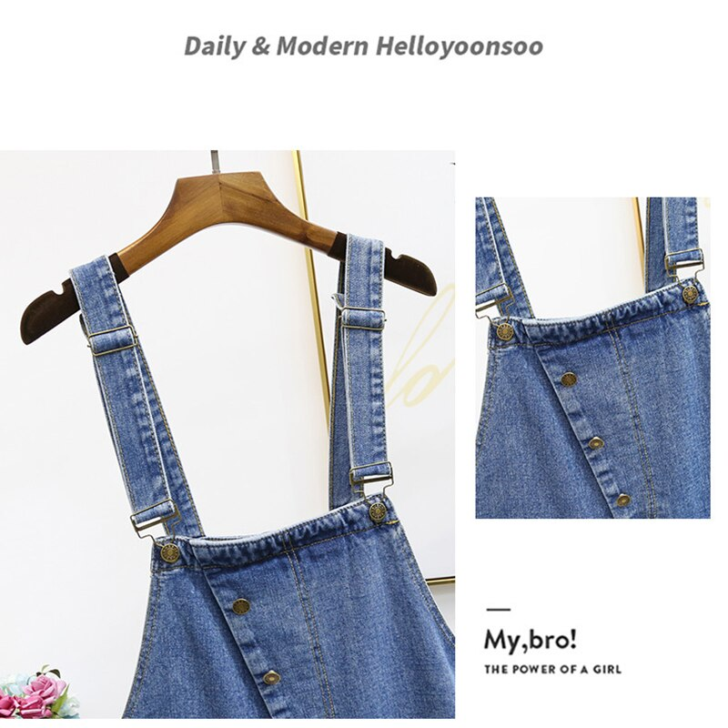 Oversized Hole Ripped Jeans Jumpsuits Women Baggy Suspenders Overalls for Women High-waisted Cotton Denim Jeans Jumpsuits 5XL 2