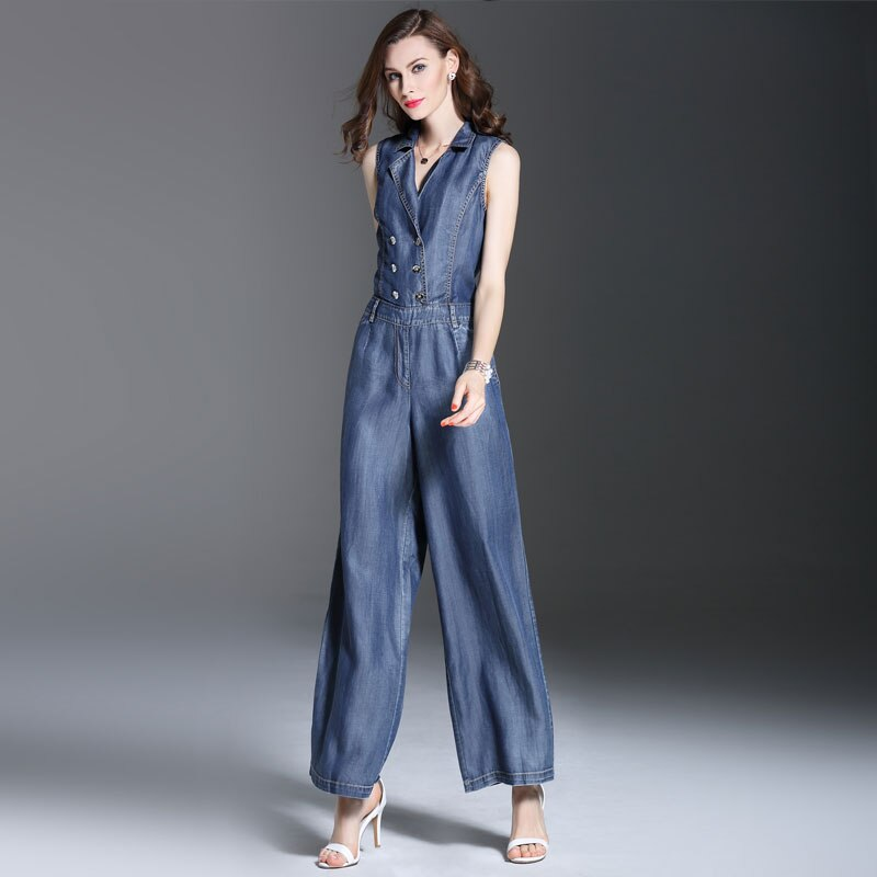 Summer Spring Fashion Womens Double Breasted Sleeveless Jumpsuits , Overalls , Casual Female Wide Leg Jeans Jumpsuit For Women 3