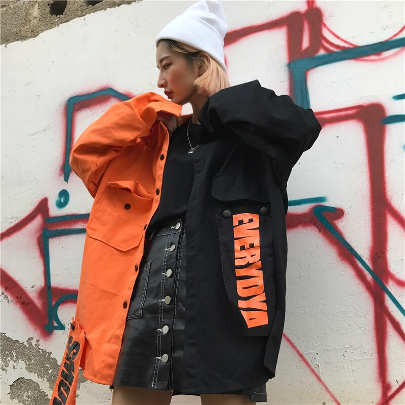 2020 Spring streetwear New loose Patchwork women jacket Harajuku letter plus size coat female top BF Style Jackets New NZY116 3