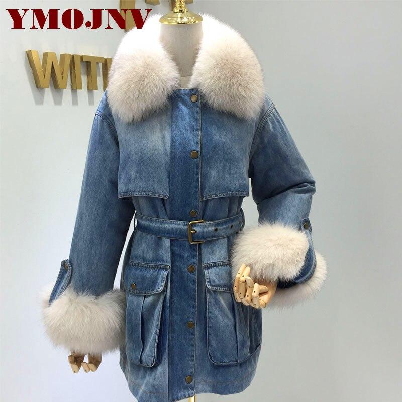 YMOJNV Winter Women Coat Denim Down Jacket Real Natural Fox Fur Collar 90% White Duck Down Liner Warm Parka Female Outerwear 4